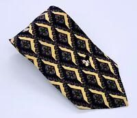 Disney Mickey Mouse Tie Black Yellow Polka Dot Pure Silk 55 x 3.75 USA 1600 Ties