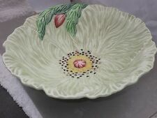 CARLTON WARE GREEN LEAF SALAD BOWL WITH FLOWER BUD AND LEAF  RAISED TINY DOTS