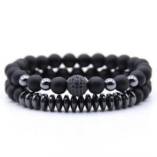 2 Pcs/Set Womens Mens Natural Stone Matte Black CZ Charm Copper Beads Bracelets