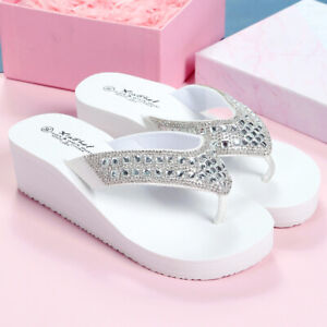 Uk4 Women's Rhinestone Thong Flip Flops Sandals Wedge Heels Beach Slippers Fei0