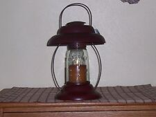 "Rustic Autumn Candle Lantern, Crackle Black/Red Tin w/Masons Jar Globe, 9"" Tall"