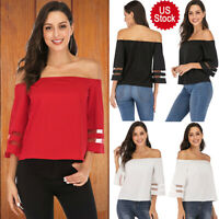 US Women's One shoulder Half Sleeve Loose Blouse Lady Top Boho T-Shirt Plus Size
