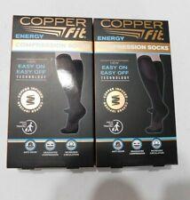 2 Pairs Copper Fit Unisex Compression Socks  Mens 9-1 Womans 1-13 Shoe Size NEW