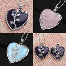 Fashion Heart Quartz Crystal Pendant Rose Flower Necklace Healing Chakra Stone