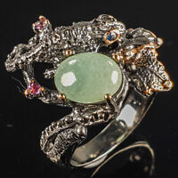 Handmade Jewelry Natural Emerald 925 Sterling Silver Ring Size 8/R113939