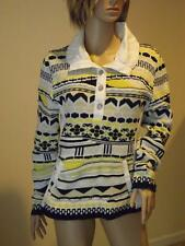 Blue Willi's 100% Cotton Collared Sweater Medium Yellow Black White Beige