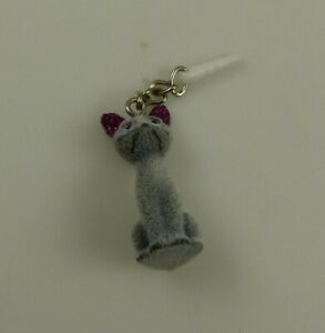 greyn & purple fuzzy cat Cell phone charm Cellphone glitter ears
