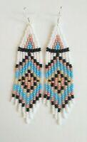 Seed Bead Earrings turquoise Beaded Earrings Long Seed Bead earrings fringe