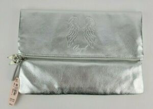 Victorias Secret Silver Angel Wings Zippered Lined Clutch Cosmetic Bag