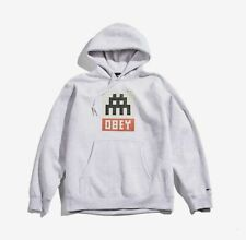 100% Authentic OBEY X INVADER Pullover Hood Hoodie Heather Ash Grey Large