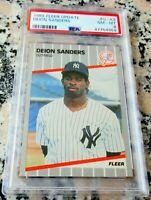 DEION SANDERS 1989 Fleer #1 Draft Pick Rookie Card RC PSA 8 NY Yankees $ HOF $