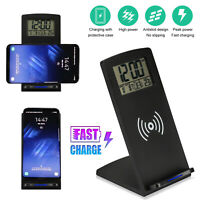 Digital Alarm Clock Wireless Qi Charging Dock Charger Station for iPhone Samsung