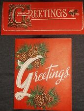 Vtg 50's Christmas GREETING CARD  Greetings PIN CONES  Money Card LOT of 2