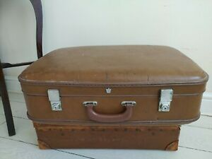 Cheney Vintage Luggage Suitcase Hard shell Case Brown Postage available