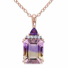 """Rose Pink Sterling Silver Ametrine Amethyst and Diamond Pendant Necklace 18"""""""