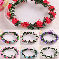 EG_ Rose Flower Crown Headband Wreath Party Wedding Bridal Garland Hairband Supe
