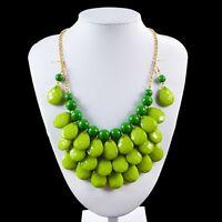 Women Fashion Resin Necklace Chunky Statement Pendant Choker Chain Jewelry