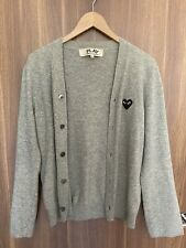 Comme Des Garcons Grey Wool Knit Cardigan Small Trimmed Sleeves