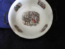 VINTAGE WMF PEWTER ? CHILDS POTTERY WARMING DISH RED RIDING HOOD HANDLES TLC
