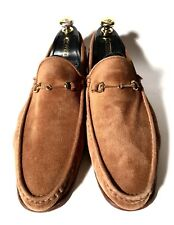 Kiton Light-Brown Suede Leather Shoes Loafers Size 42, UK-8 US-9