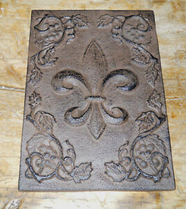 HUGE Cast Iron FLEUR DE LIS Plaque Finial Garden Sign Home Wall Decor Rustic