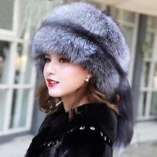 Winter Women Real Silver Fox Fur Hat Warmer Ear Mongolia Cap With Tail