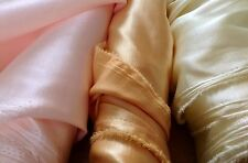 "Fab 150cm / 60"" wide Slubbed Satin Fabric -Per Metre - Lemon Shantung Satin Back"