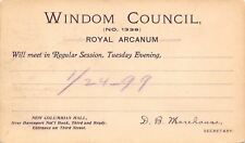 Davenport Iowa~Royal Arcanum~Windom Council~Nat'l Bank Bldg~1899 Postal