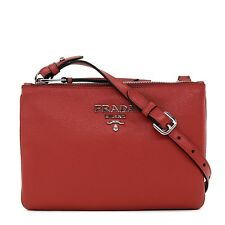 PRADA Crossbody Double Zip Bandoliera Red Leather NWT