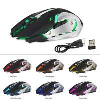 Rechargeable Wireless X7 LED Backlit Optical Ergonomic USB Gaming Mouse Black KY