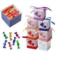 50 Pcs Love Heart Favor Ribbon Gift Box Candy Boxes Case Wedding Party Decor Hot