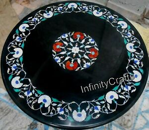 Pietra Dura Art Handmade Marble Dinette Table Top Black Coffee Table 30 Inches