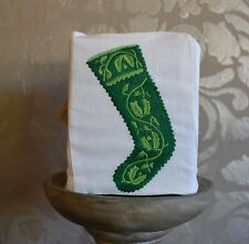 Hand Embroidered Christmas Stocking Boutique Tissue Box Cover White with Green