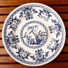 Assiette plate en faïence de Lunéville, modèle DELFT, décor oriental japonisant