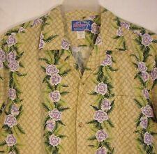 RAINBOW HAWAII INC. Hawaiian Aloha Shirt XL Cotton Basket Weave Purple Flowers
