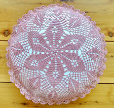 """Hand Crochet Lace Cushion Cover Hand Made Round 16"""" Purple Pure Cotton"""