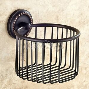 Oil Rubbed Bronze Wall Mounted Toilet Paper Holder Shower Shelf Basket sba217