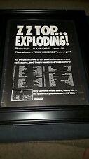 Zz Top Tres Hombres Rare Original Promo Tour Poster Ad Framed!