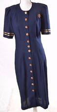 Success Dress VTG Women Dress Navy Nautical Sailor Gold accent  Size 9/10  (M)