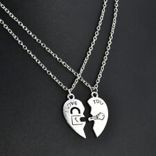 Key & Lock Heart Shape Necklace for Women Men Pendant Couple Necklaces Jewelry