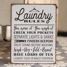 """Rustic Tin Sign """"LAUNDRY RULES"""" Distressed Vintage Farmhouse Decor"""