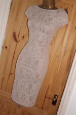 Nude stretchy vintage lace 40s 50s pencil wiggle party cocktail dress size 10 12