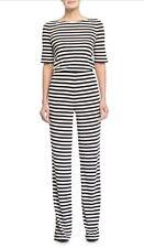 SZ 4 Diane Von Furstenberg Kendra Black White Open Back Striped Jumpsuit