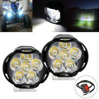 2X LED Motorcycle ATV UTV Scooter Headlight Spot Light Lamp with Button Switch
