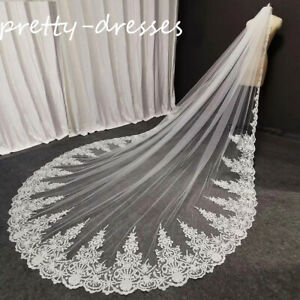 Real Photos Wedding Bridal Veils White Ivory Tulle with Comb Long Full Lace edge