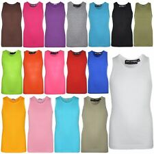 Kids Girls Ribbed Vest Top 100% Cotton Fashion Tank Tops T Shirt New Age 5-13 Yr