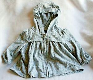 Baby Gap girls soft grey hoody / jacket - age 3 - 6 months
