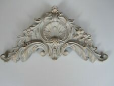 DECORITAVE SHABBY CHIC ORNATE FRENCH COUNTRY BED /MIRROR FURNITURE/PEDIMENT