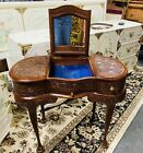 Vintage Kidney Desk Vanity Pakistan Carved Ornate French Secretary Bureau Old