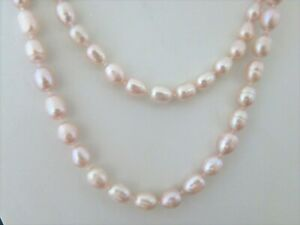Perlenkette Lang 125cm aus echten Perlen Rosa / Apricot, mit Kettenverkürzer